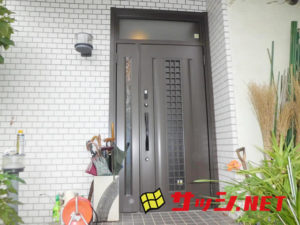 愛知県名古屋市緑区親子ランマ付玄関ドア取替工事【サッシ.NET】