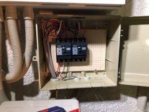 名古屋市名東区エアコン専用回路の配線と開閉器電気工事