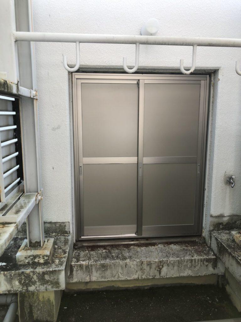 名古屋市中区スチールドア、引き違い戸の工事