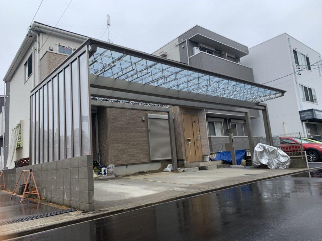 愛知県名古屋市北区 3台用カーポート設置工事 エクステリア 三協アルミMシェード