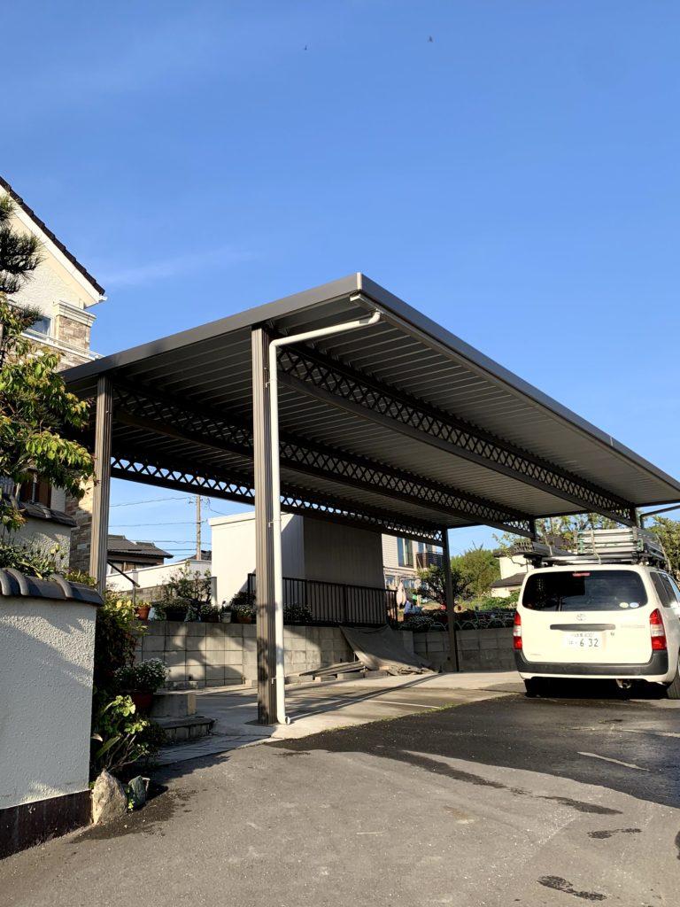 愛知県東海市 戸建住宅2台用カーポート設置工事 エクステリア
