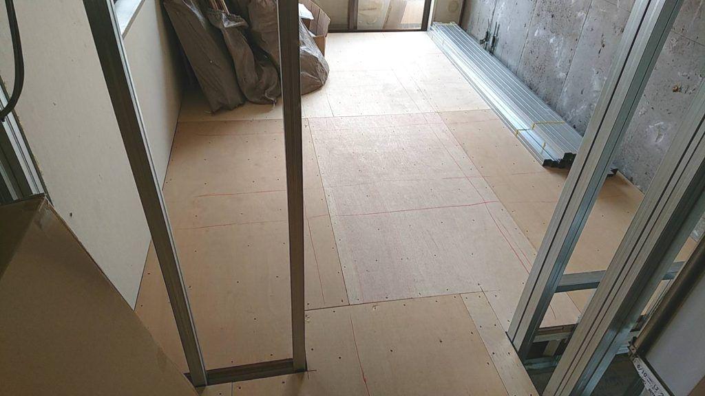 東京都新宿区フクビ乾式二重床マンション置床工事