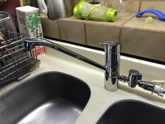 名古屋市東区 TOTO キッチン水栓取替工事店 TKGG31EH 台所水栓施工事例
