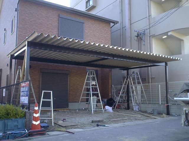 岡崎市 折半屋根カーポートの施工 2010/03/19