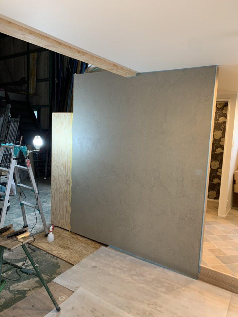 愛知県大府市 屋内の壁に自然素材の塗り壁コーナー施工 内装工事