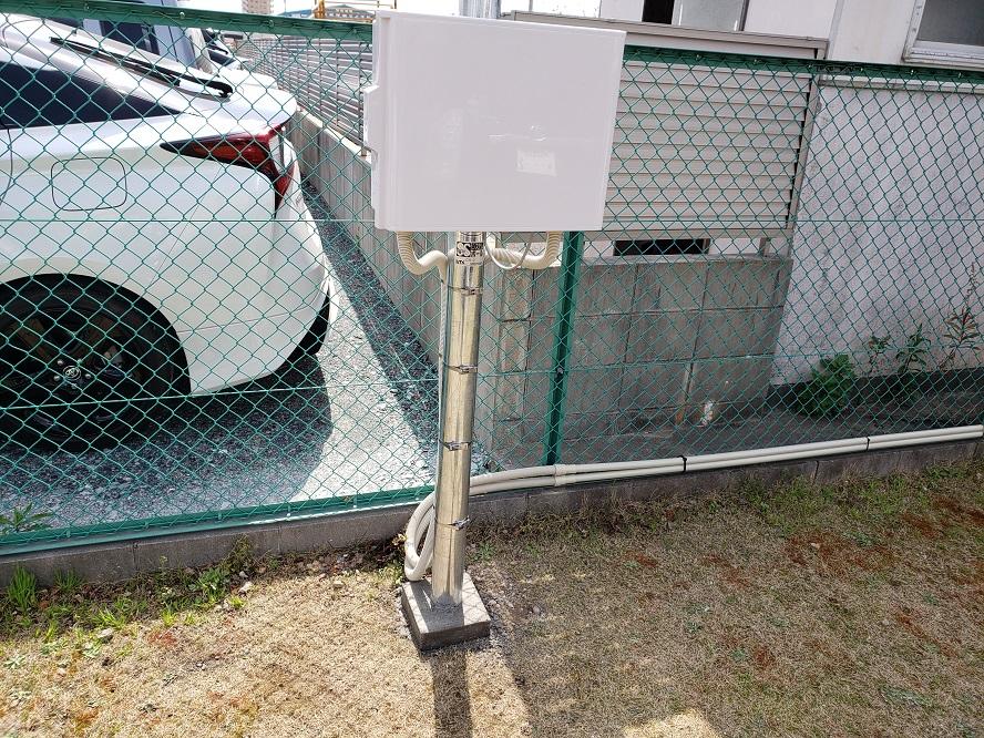 名古屋市南区 防犯用ポール灯新設の電気工事