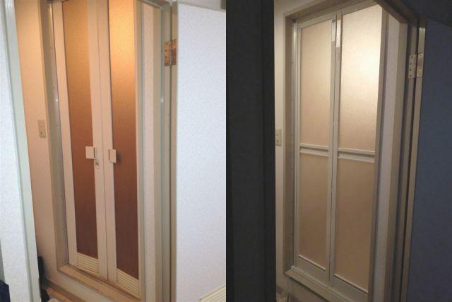 浴室中折ドア修理、交換 長久手市