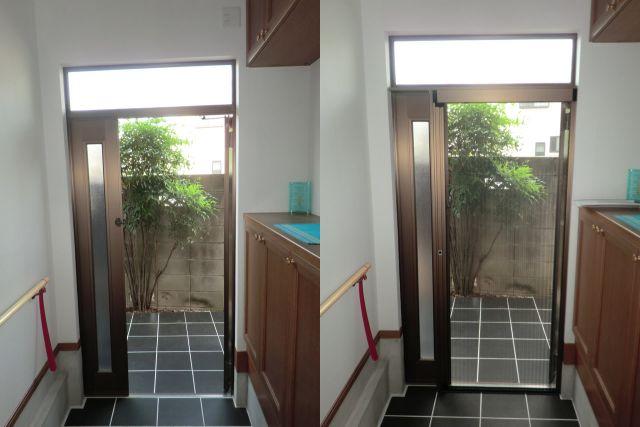 愛知県名古屋市緑区しまえるんですα玄関ドア網戸取付工事【サッシ.NET】