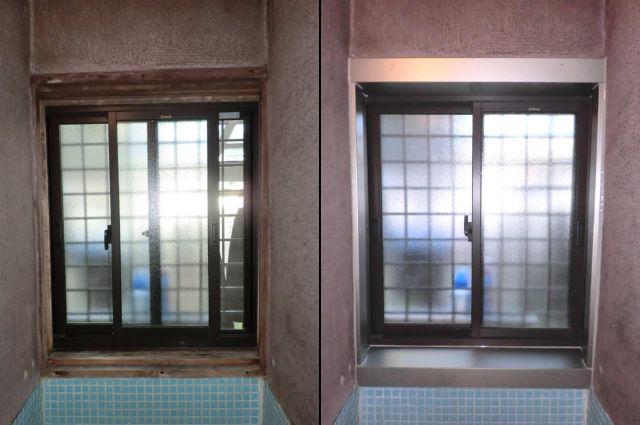 浴室窓額縁にアルミ曲物取付工事 稲沢市