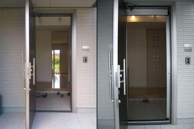 愛知県津島市しまえるんですα玄関ドア網戸取付工事LIXIL【サッシ.NET】