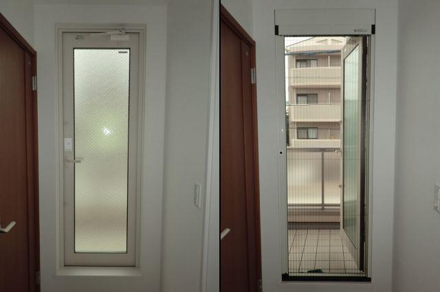 名古屋市昭和区 バルコニー用ドアに網戸取付工事 トステム製 しまえるんですα