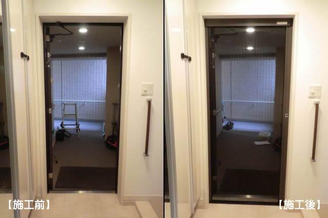 名古屋市千種区 マンション玄関ドアに網戸取付工事 しまえるんですα