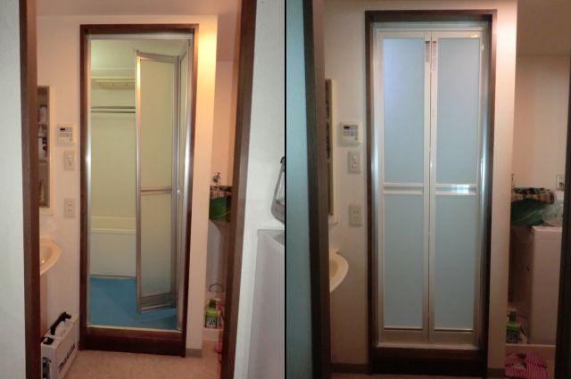 カバー工法による浴室中折れドア取替え工事 トステム製 大治町