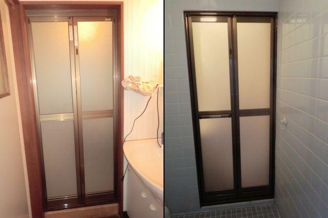 カバー工法による浴室中折れドア取替え工事 名古屋市