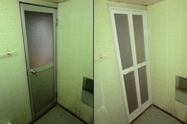 浴室ドアの取替工事 カバー工法による中折れドアへの交換 春日井市