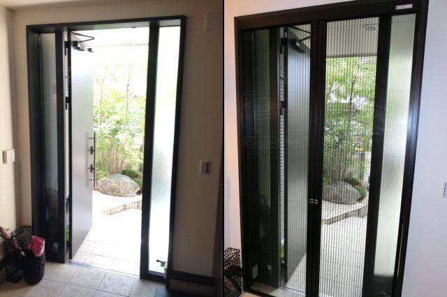 愛知県名古屋市緑区玄関ドアに網戸取替LIXILしまえるんですα取付工事【サッシ.NET】