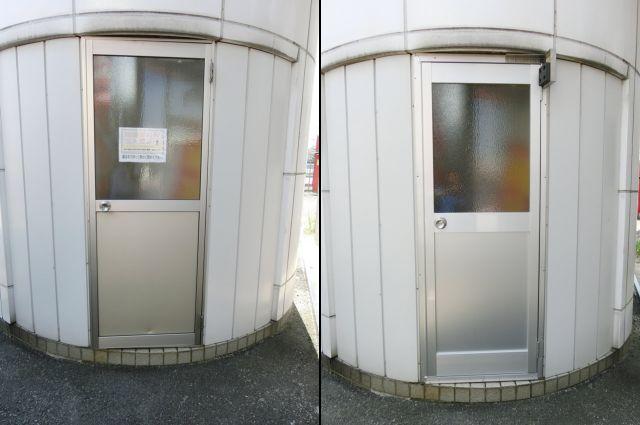 愛知県知多市カバー工法アルミ片開き框ドア取替工事【サッシ.NET】