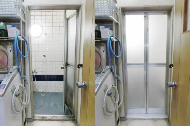 愛知県名古屋市港区浴室中折れドア取替工事【サッシ.NET】
