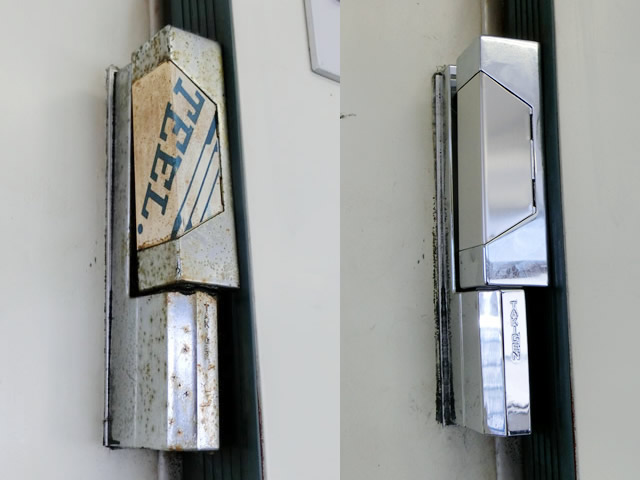 愛知県稲沢市 大型冷蔵庫扉 コーナーヒンジ修理交換工事【サッシ.NET】