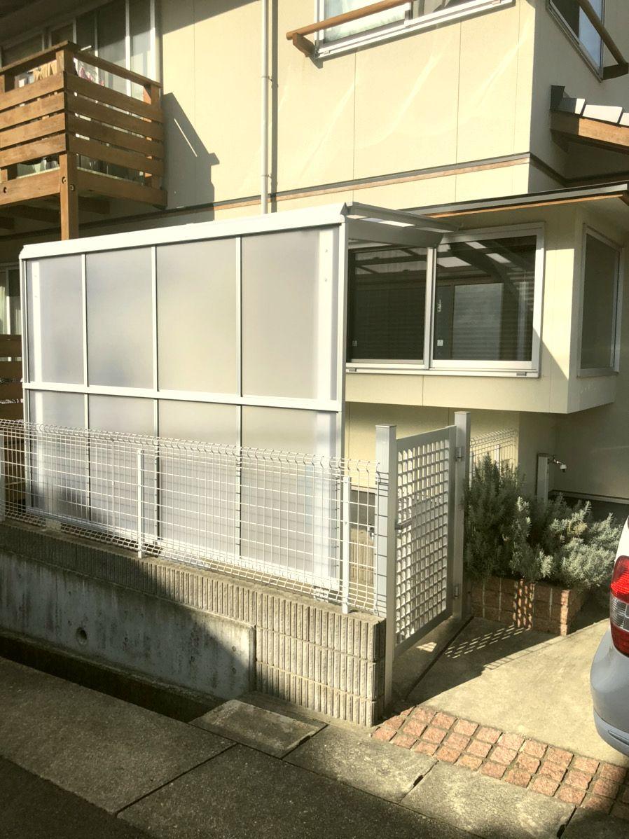 名古屋市緑区 サイクルポート設置エクステリア工事 LIXILフーゴF型